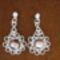 lila ezüstfóliás üveggyöngyös fülbevaló
