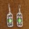 zöld ezüstfóliás üveggyöngyös fülbevaló