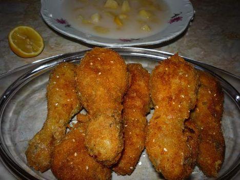 rántott csirkecomb almafőzelékkel