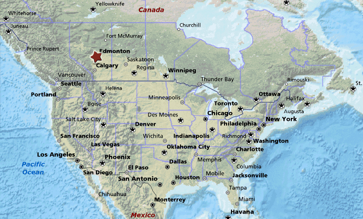 észak amerika térkép városokkal Ferihegy repülőtér: Edmonton Észak Amerika térképén (kép) észak amerika térkép városokkal