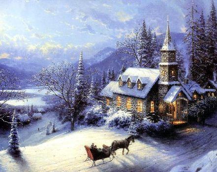 Szép, havas táj a templommal