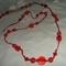hosszú piros csomózott nyaklánc
