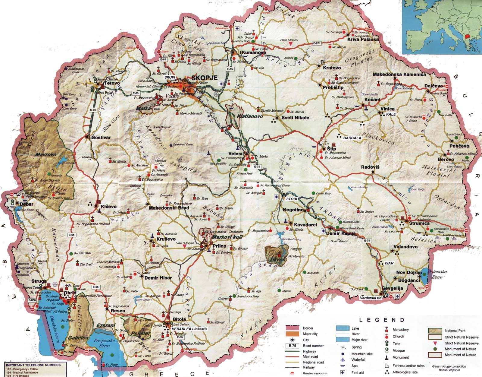 Macedonia online maps geographical political road railway macedonia tourist map publicscrutiny Image collections