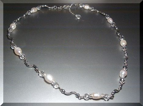 Édesvizi gyöngy - hegyikristály - tibeti ezüst nyakék