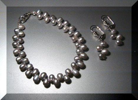 Ezüst színű édesvizi gyöngy cikk-cakk szett
