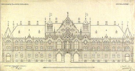 Kecskemét város székháza 1912.( Ma Kossuth tér 1) Az eredeti,Lechner Ödön és Pártos Gyula által tervezetthez képest kisebb változást tartalmaz,az 1911