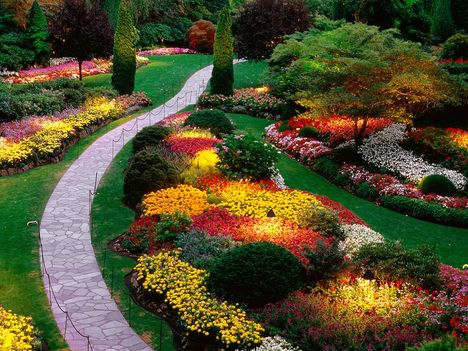 Sunken Garden, Butchart Gardens, Saanich Peninsula, British Columbia, Canada