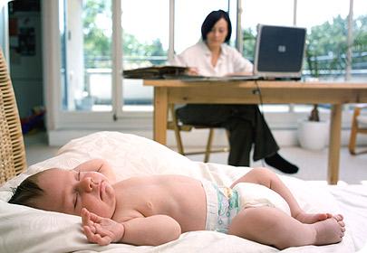 távmunka babával