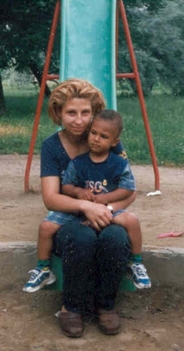 Mohamed Osama Osman with his mother