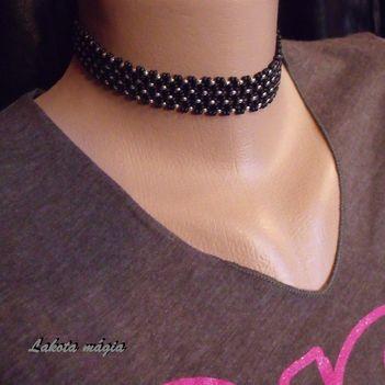Fekete-ezüst nyakpánt