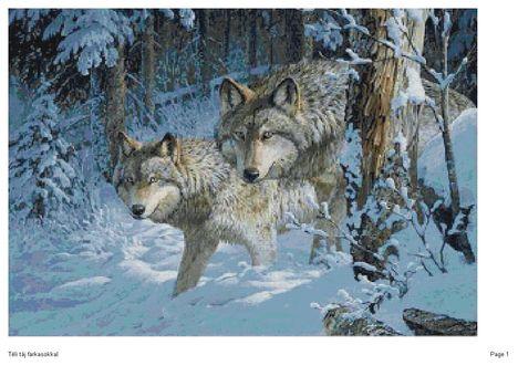 Téli táj farkasokkal