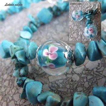 Türkiz-virág lánc+fülbevaló
