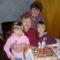 anyukám szülinapján a dédunokákkal és velem