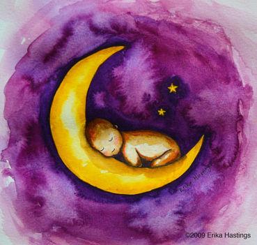 Alvó gyermek festmény