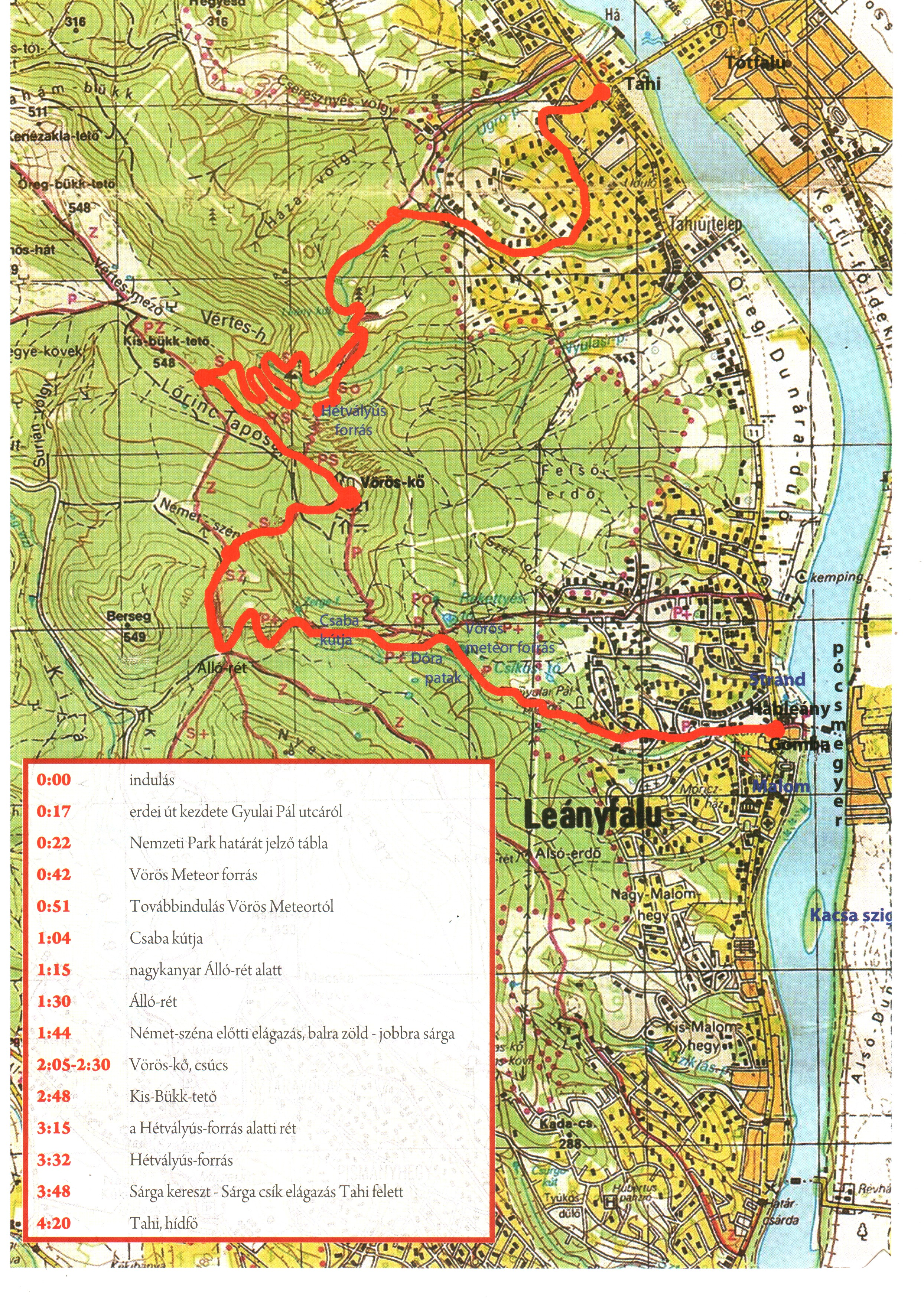 leányfalu térkép Térkép: Leányfalu Vöröskő Tahi (2) (kép) leányfalu térkép