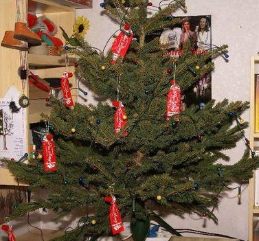 piros-arany karácsonyfa