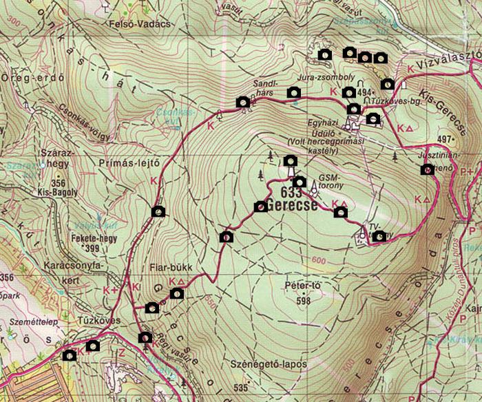gerecse térkép Túra: gerecse térkép (kép) gerecse térkép