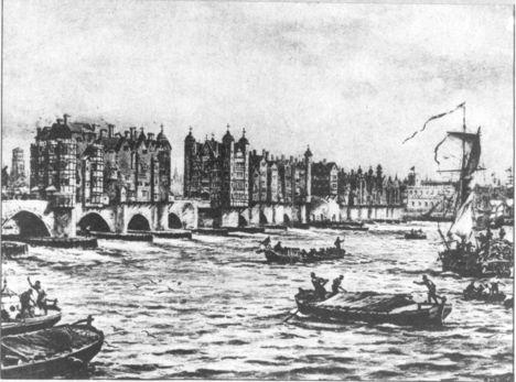 Csónakkal a London Bridge felé, 1640-ben
