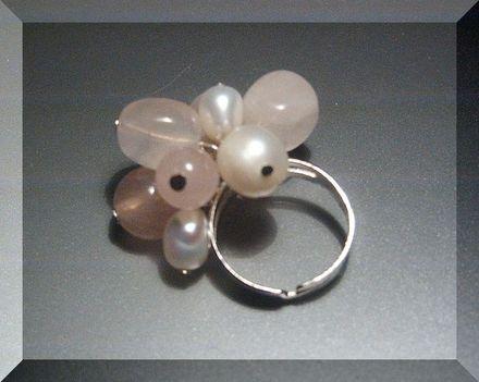Rózsakvarc - édesvizi gyöngy borzas gyűrű