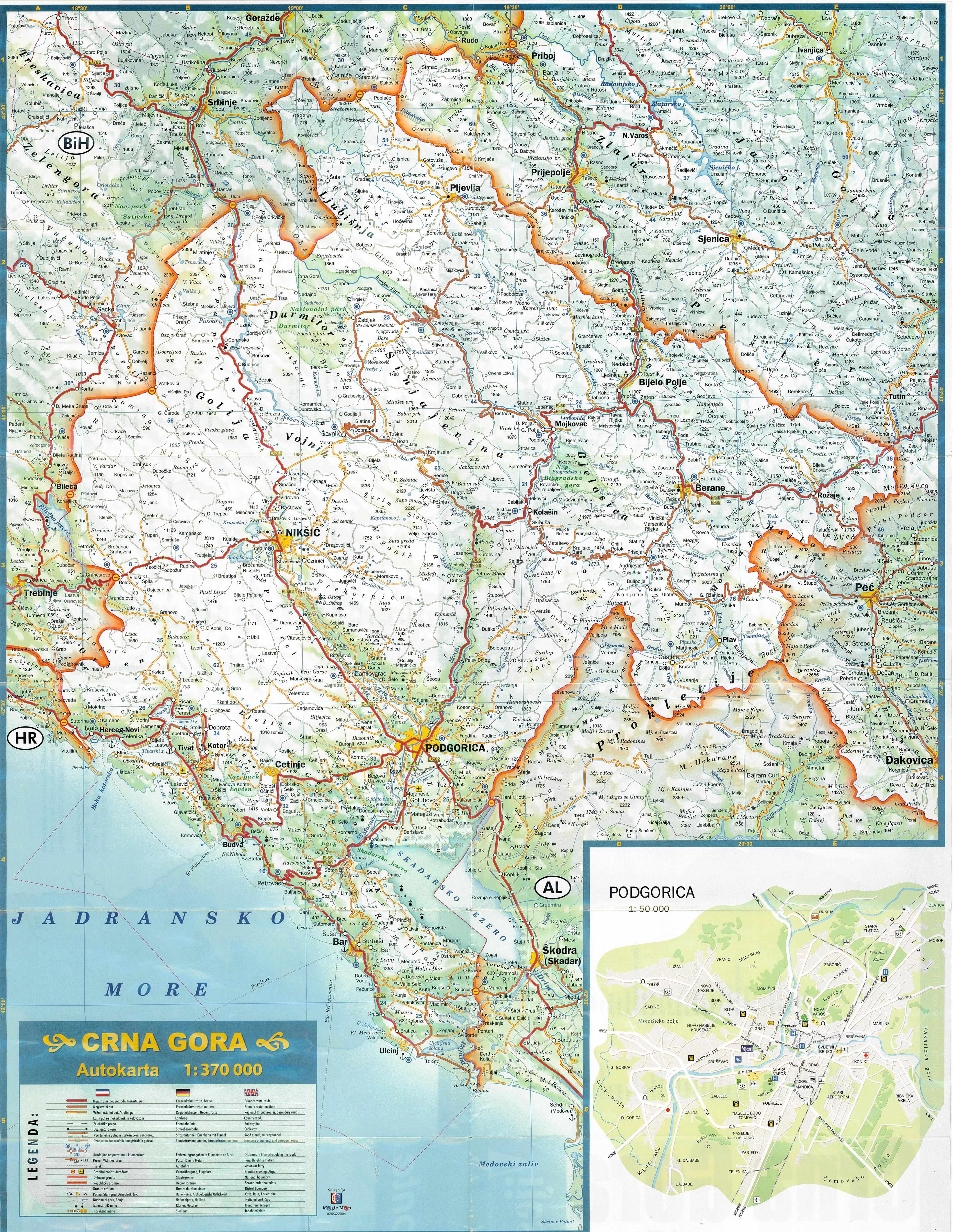 autós térkép Montenegro: Montenegro autóstérkép (kép) autós térkép