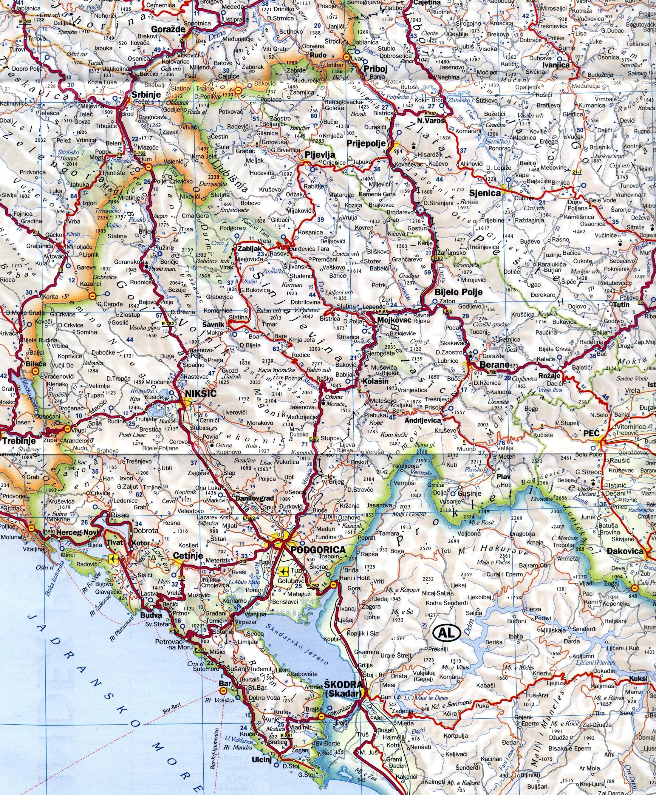 montenegró térkép Montenegro: Montenegro térkép (kép)
