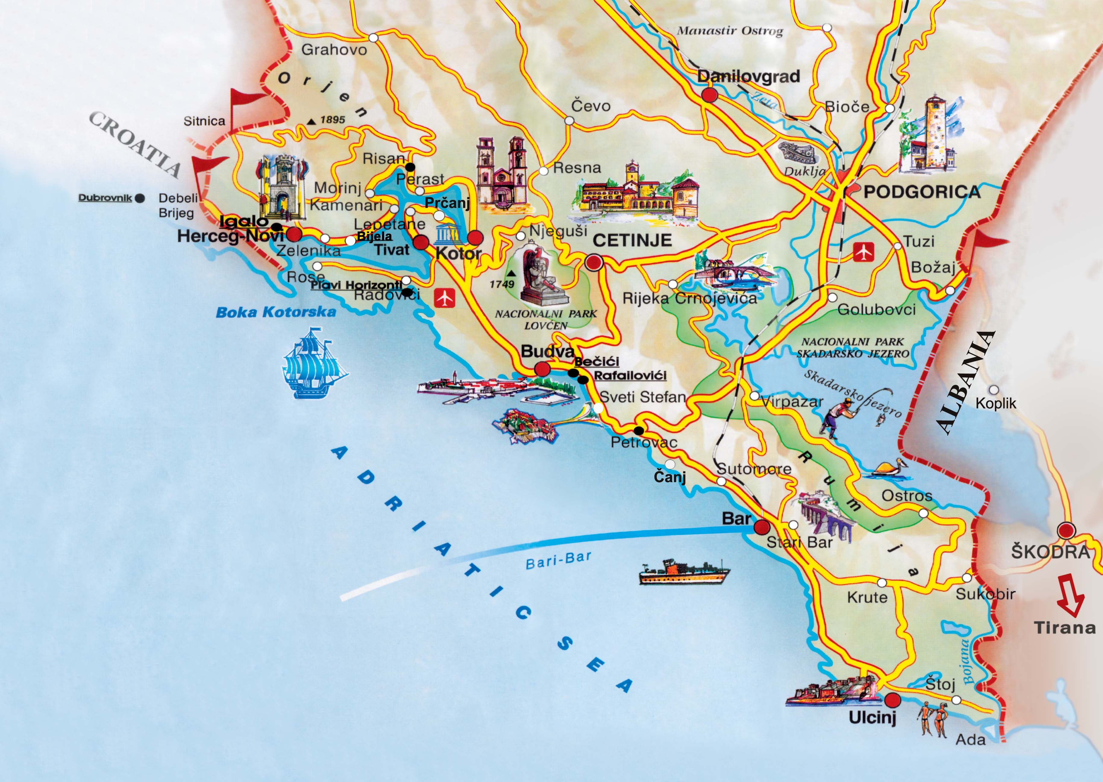 montenegró térkép Montenegro: Térkép Montenegro (kép) montenegró térkép
