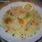 tárkonyos pulykaragu leves eperlevéllel