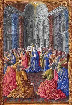 A Szentlélek pünkösd napján jött el Jézus Krisztus anyjára, Szűz Máriára, valamint az apostolokra