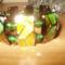 58. Mozaikos köztesekkel karkötő zöldes