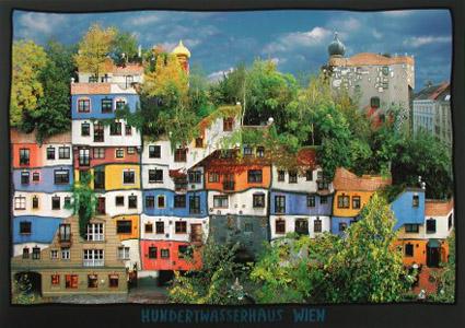 Hundertwasser ház a távolban