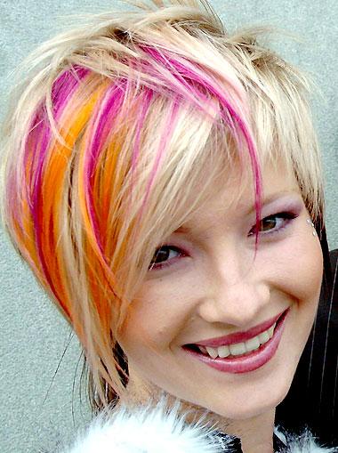 trendi frizura 2 színes nyári vidám haj címkék frizura haj ...