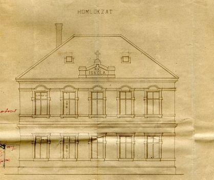 Az iskola tervrajza, az 1913- ban épült homlokzati rész terve