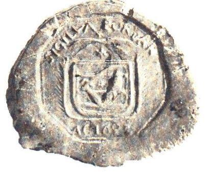 Pordányi pecsét 1693-ból (ez alapján készült a falucímer)