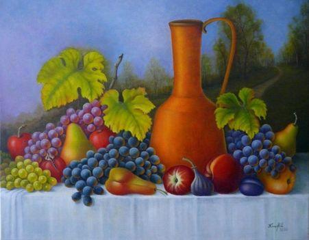 Csendélet gyümölcsökkel és tájképpel