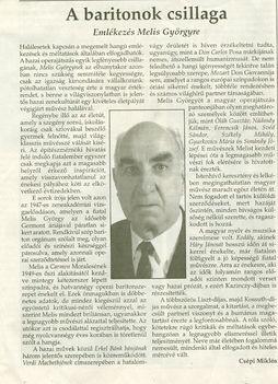 Melis György újságcikk