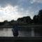 Győr,  a Mosoni Duna alkonyatkor