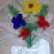 csokor rózsával, gerberával és szegfűvel