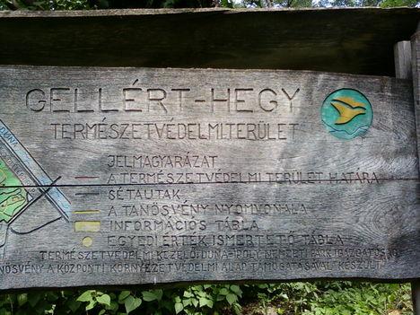 Gellérthegyi természetvédelmi terület táblája