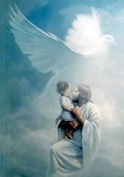 Jézus karján gyerek ,galambal