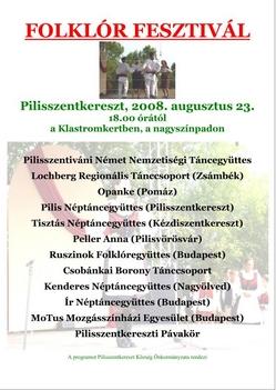 Plakát: Folkloriáda 2008. - Folklór Fesztivál- Pilisszentkereszt