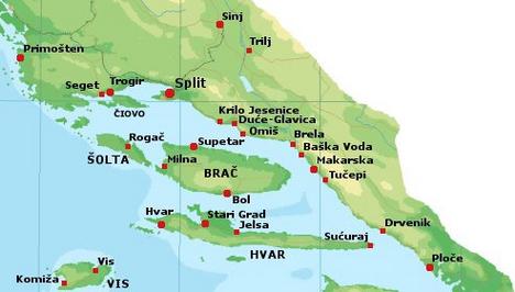 közép-dalmácia térképe