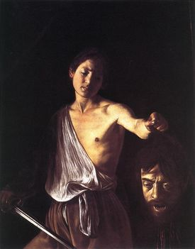 Dávid Góliát fejével- Galleria Borghese