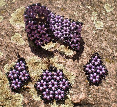 lila kisvirágos szett