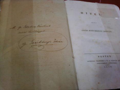 gróf Széchenyi István aláírása a Hitel cimű művében