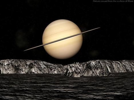 A szaturnusz egyik holdjáról nézve
