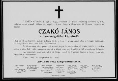 Czakó János gyászjelentése