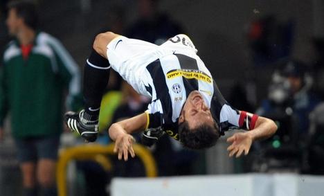 Del Piero (Juventus) öröme a Zenit elleni gólnak