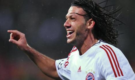 Martin Demichelis (Bayern München) gólöröme a Steaua elleni meccsen(