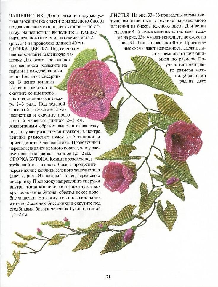 Сайт по теме: деревья и цветы из бисера и содержит фото, видео, описания, мастер классы, схемы плетения...
