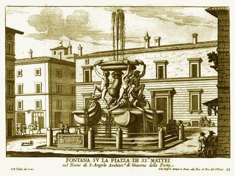 Fontana su la piazza de SS. Mattei